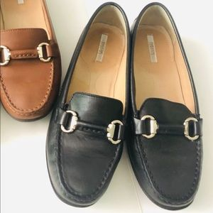 Geox black leather loafers